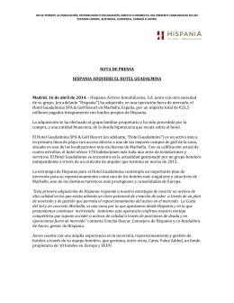 Hispania adquiere el Hotel Guadalmina