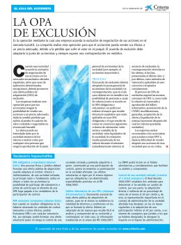 LA OPA DE EXCLUSIÓN