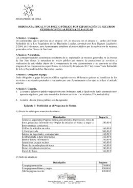 ordenanza fiscal nº 39. precio público por explotación de recursos