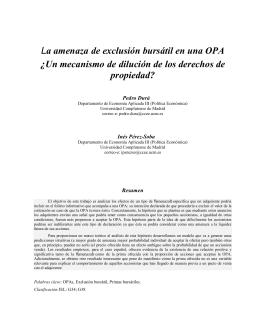 La amenaza de exclusión bursátil en una OPA ¿Un mecanismo de