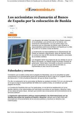 Los accionistas reclamarán al Banco de España por la colocación
