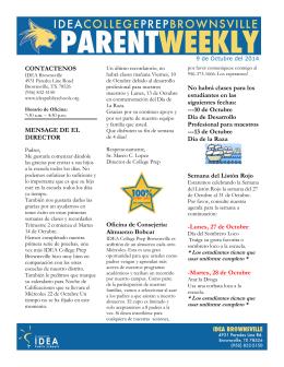 9 de Octubre-Parent Weekly -Espanol