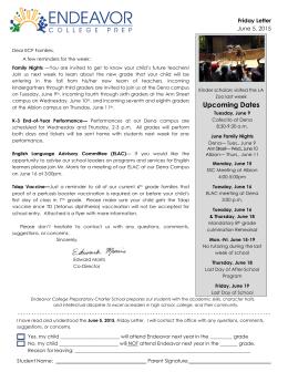 Upcoming Dates - Endeavor College Prep