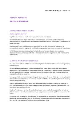 PÍLDORA ABORTIVA HASTA 10 SEMANAS