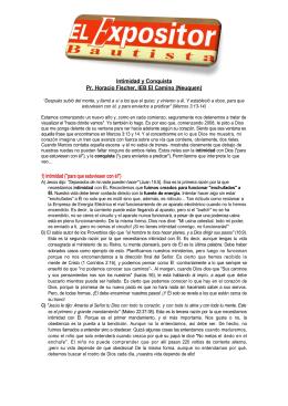 Intimidad y Conquista Pr. Horacio Fischer, IEB El Camino (Neuquen