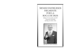 2015-10-31 Siendo instruidos fielmente por la boca de Dios