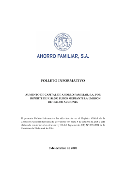 FOLLETO INFORMATIVO - Ahorro Familiar SA