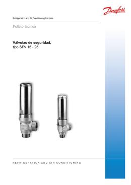 Válvulas de seguridad, tipo SFV 15 - 25 Folleto