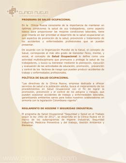 PROGRAMA DE SALUD OCUPACIONAL En la Clínica Nueva