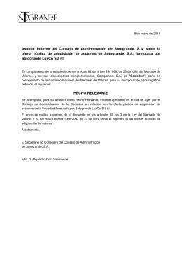 Asunto: Informe del Consejo de Administración de