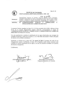 ASUNTO: MANUAL DE TESORERÍA CIRCULAR REGLAMENTARIA