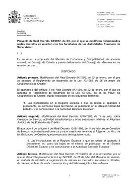 Proyecto de Real Decreto XX/2012, de XX, por el