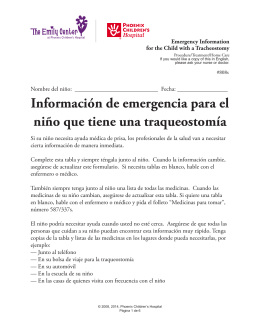Emergency Information for the Child with a Tracheostomy in Spanish
