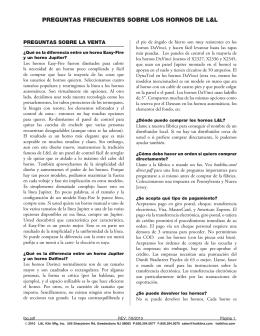 PREGUNTAS FRECUENTES SOBRE LOS HORNOS DE L&L