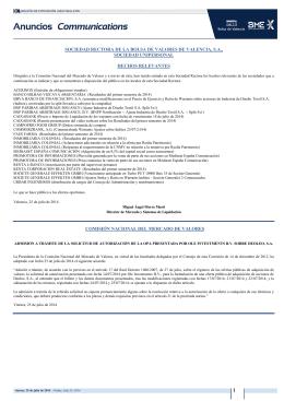 SOCIEDAD RECTORA DE LA BOLSA DE VALORES DE VALENCIA