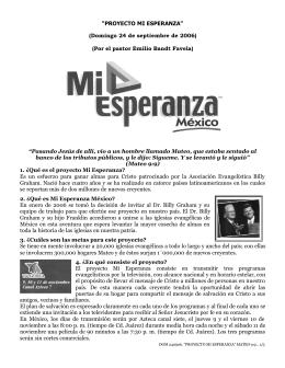 """""""PROYECTO MI ESPERANZA"""" (Domingo 24 de"""