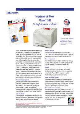 Impresora de Color Phaser 340 ¡Ya llegó el color a la oficina!