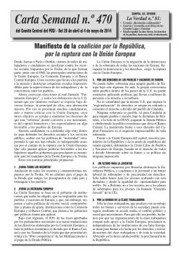 Carta Semanal 470 - Partido Obrero Socialista Internacionalista