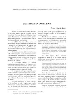 UN LUTHIER EN COSTA RICA Tania Vicente León