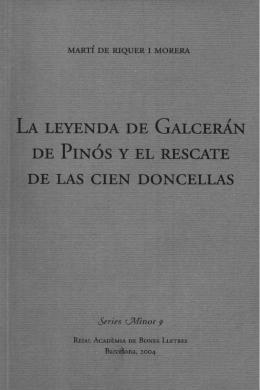LA LEYENDA DE GALCERÁN - Reial Acadèmia de Bones Lletres