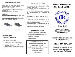 Folleto Informativo Año Lectivo 2014 MEDIA 10º, 11º y 12º