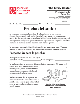 Sweat Test [Prueba del sudor] 605/95s