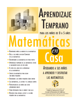 APRENDIZAJE TEMPRANO - CMC - California Mathematics Council