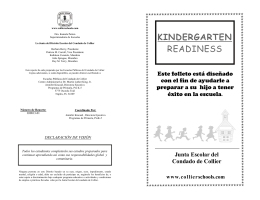 KINDERGARTEN READINESS - Collier County Public Schools