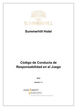 Summerhill Hotel Código de Conducta de Responsabilidad en el
