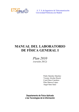 MANUAL DEL LABORATORIO DE FÍSICA GENERAL I Plan 2010