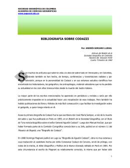 Bibliografía sobre Codazzi - Sociedad Geográfica de Colombia