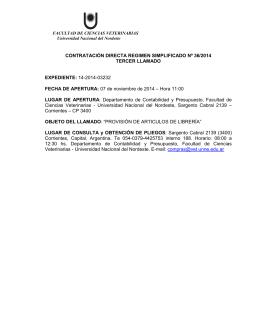 CONTRATACIÓN DIRECTA REGIMEN SIMPLIFICADO Nº 36/2014