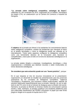 """1 """"La Jornada sobre inteligencia competitiva, estrategia de futuro"""