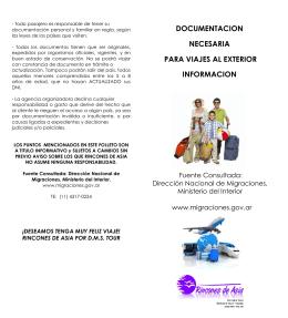 Documentación necesaria para viajes al exterior