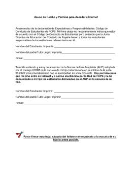 Acuso de recibo y permiso para acceder a Internet