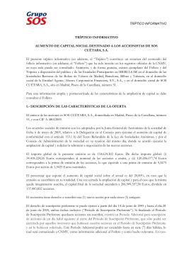 TRÍPTICO INFORMATIVO AUMENTO DE CAPITAL