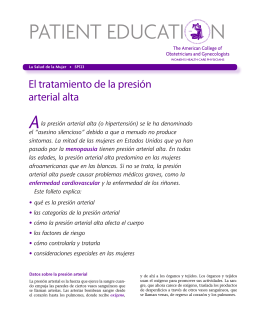 Patient Education Pamphlet, SP123, El tratamiento de la presión