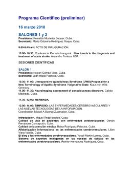 Programa Científico (preliminar) 16 marzo 2010 SALONES 1 y 2