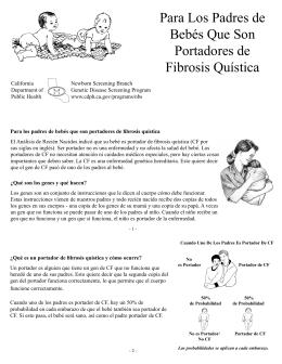 Para Los Padres de Bebés Que Son Portadores de Fibrosis Quística