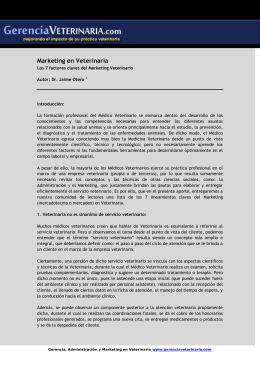 Marketing en Veterinaria Factores claves del marketing