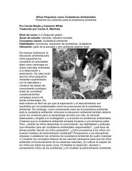Niños Pequeños como Ciudadanos Ambientales