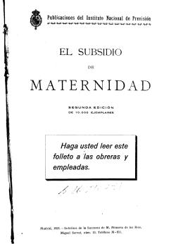 El subsidio de maternidad. - 2ª ed.