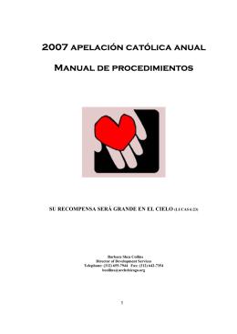 2007 apelación católica anual Manual de procedimientos