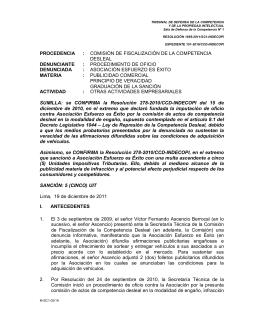 procedencia : comisión de fiscalización de la competencia desleal