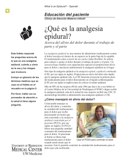 ¿Qué es la analgesia epidural? - UWMC Health On-Line