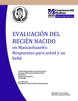 evaluación del recién nacido - University of Massachusetts Medical