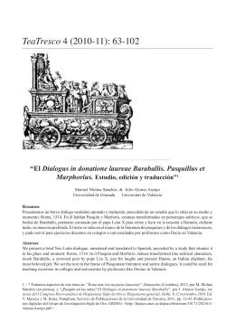 El Dialogus in donatione laureae Baraballis. Pasquillus