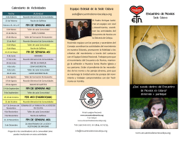Calendario de Actividades Encuentro de Novios Equipo Eclesial de