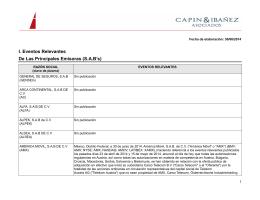 Eventos relevantes del IPC, Fibras y CKD`s 30/05/2014