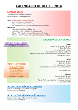 CALENDARIO DE BETEL – 2014
